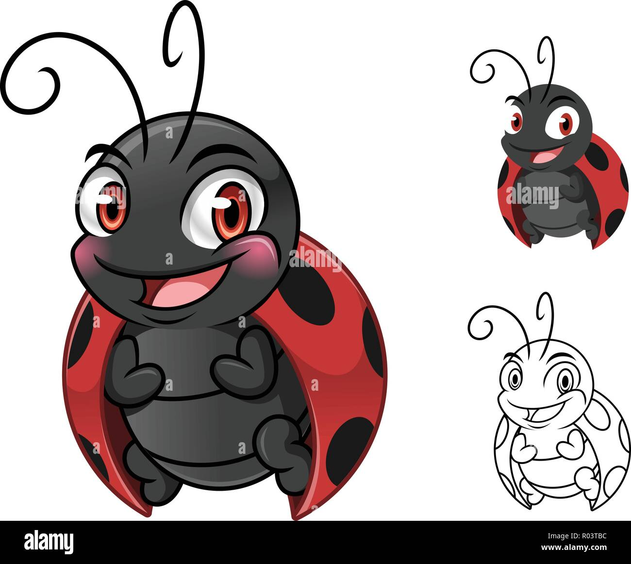 A Cartoon Ladybug ladybug cartoon character mascot design, including flat and