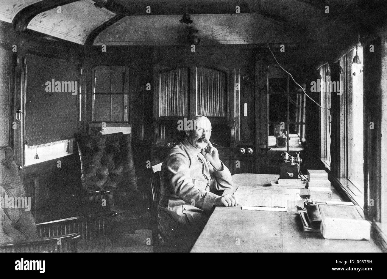 French general Petain in his wagon office, 1916, France - Stock Image