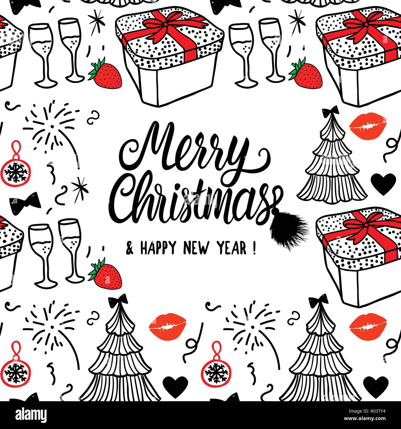 merry christmas and happy new year card fashion sketch celebration gift box tree and fireworks black and red hand drawn vector illustration isolated on