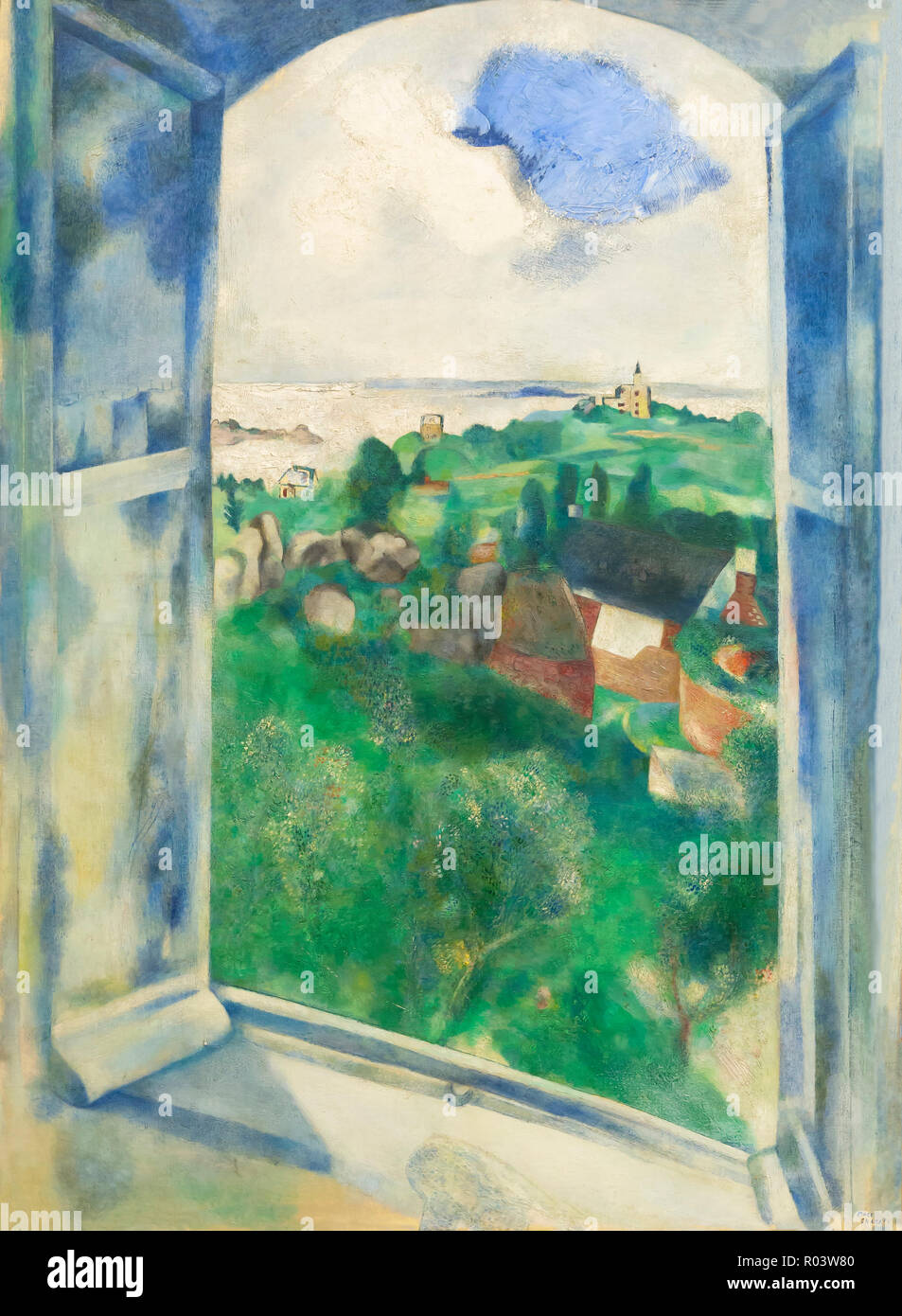 Window View on the Isle of Brehat, , Marc Chagall, 1924, Zurich Kunsthaus, Zurich, Switzerland, Europe - Stock Image