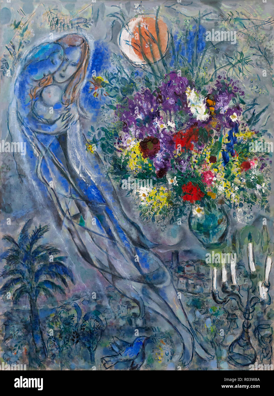 Lovers in Grey, Marc Chagall, 1956-1960, Zurich Kunsthaus, Zurich, Switzerland, Europe - Stock Image