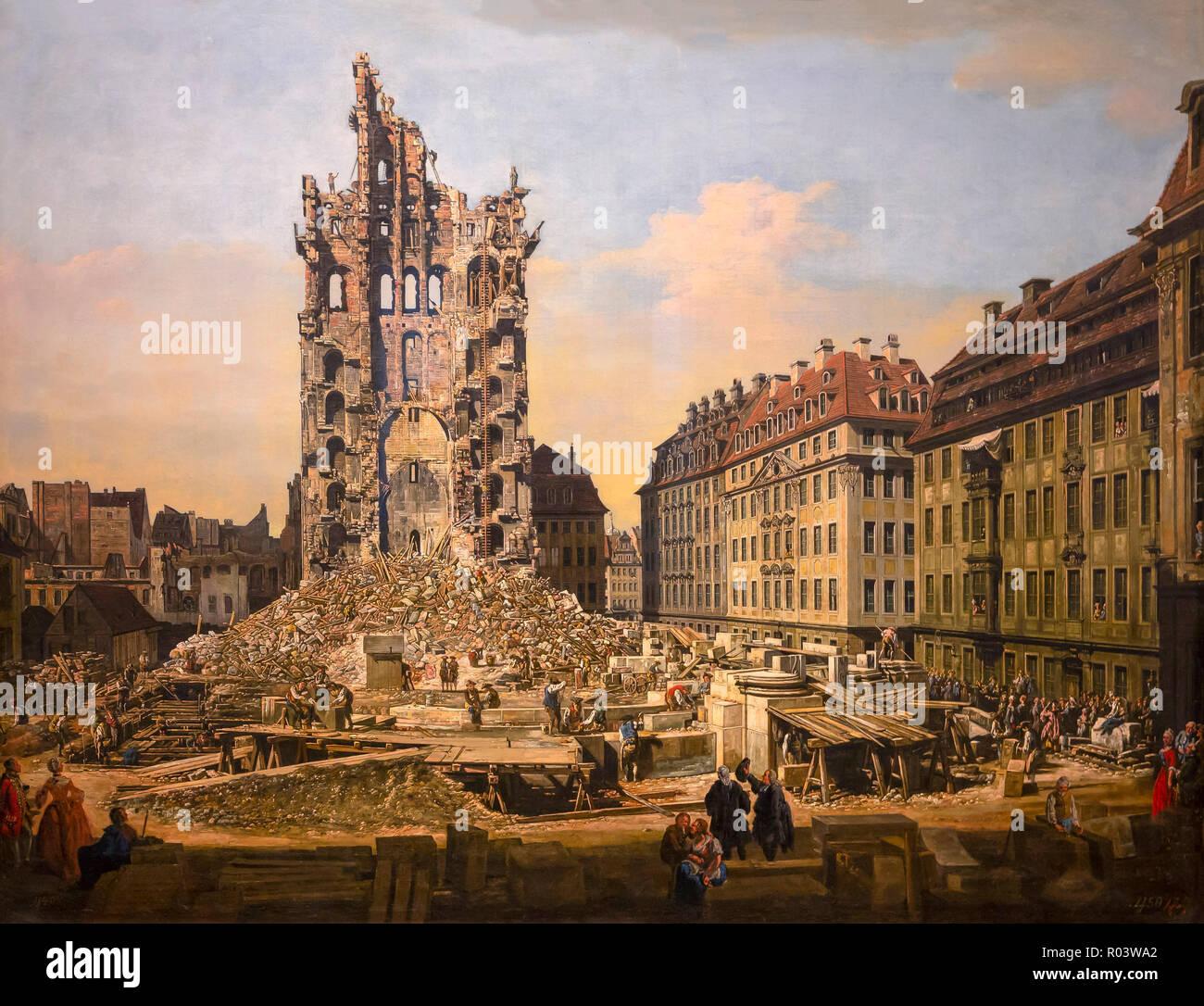 The Ruins of the Kreuzkirche in Dresden, Bernardo Bellotto, 1765, Zurich Kunsthaus, Zurich, Switzerland, Europe - Stock Image