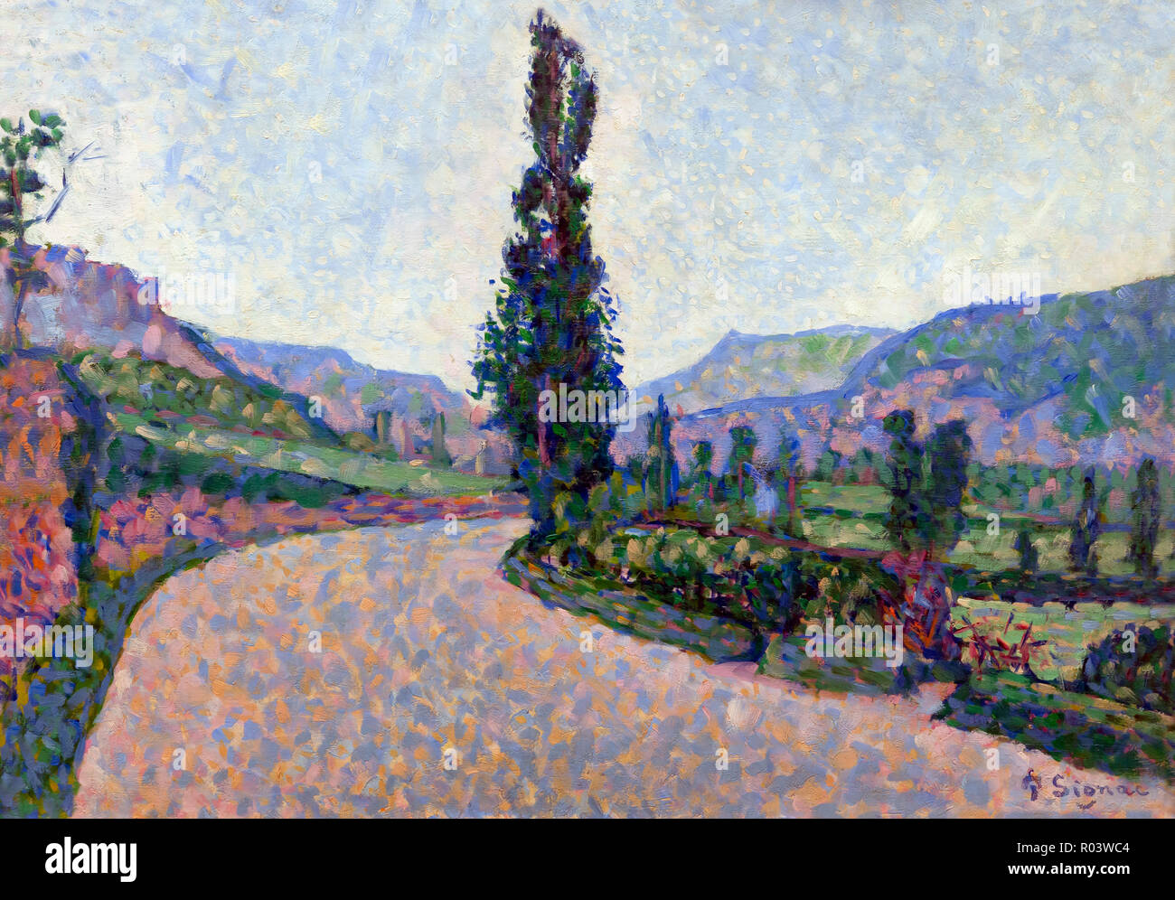 Comblat-le-Chateau, The Poplar, Paul Signac, 1887, Zurich Kunsthaus, Zurich, Switzerland, Europe Stock Photo