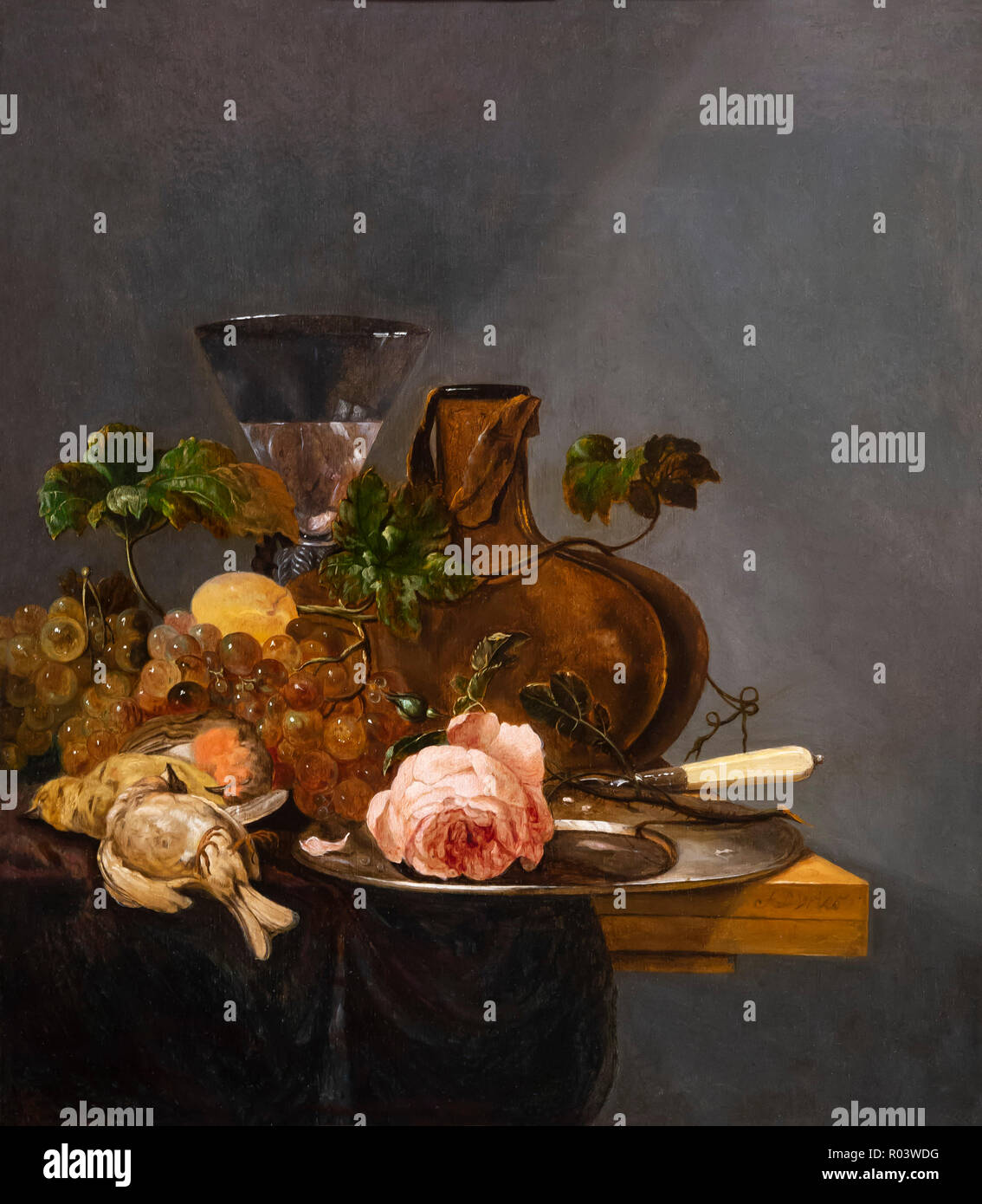 Still Life with Grapes, Dead Birds and Wine Glass on a Wooden Table, de Vries, Zurich Kunsthaus, Zurich, Switzerland, Europe - Stock Image