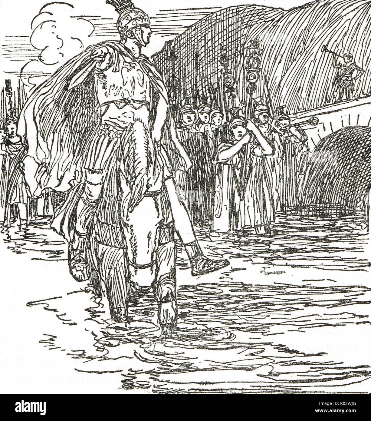 Julius Caesar crossing the Rubicon in 49 BC - Stock Image