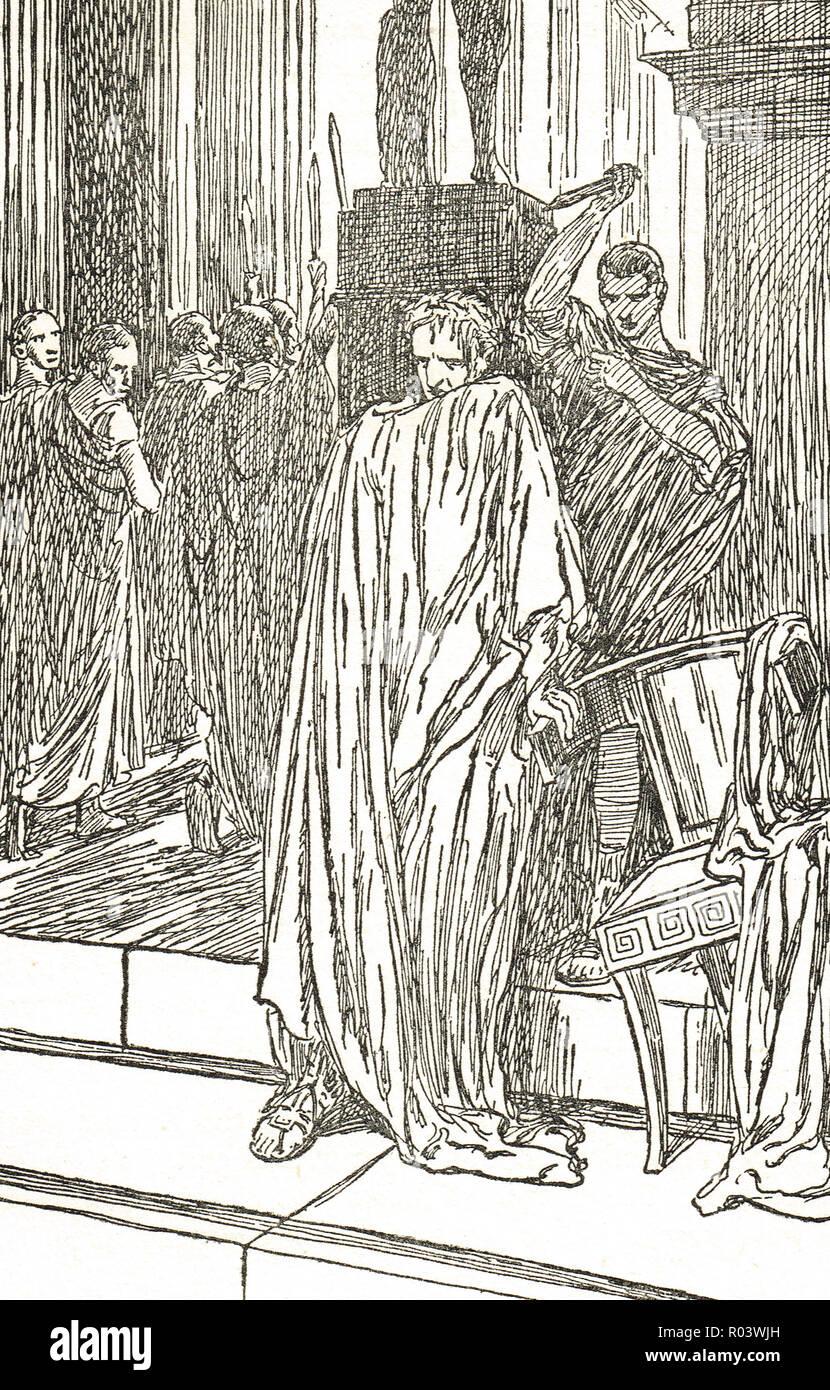 The assassination of Julius Caesar, Ides of March, 15 March 44 BC, Rome, Italy, assassinated by Roman senators led by  Gaius Cassius Longinus, Marcus Junius Brutus, and Decimus Junius Brutus - Stock Image