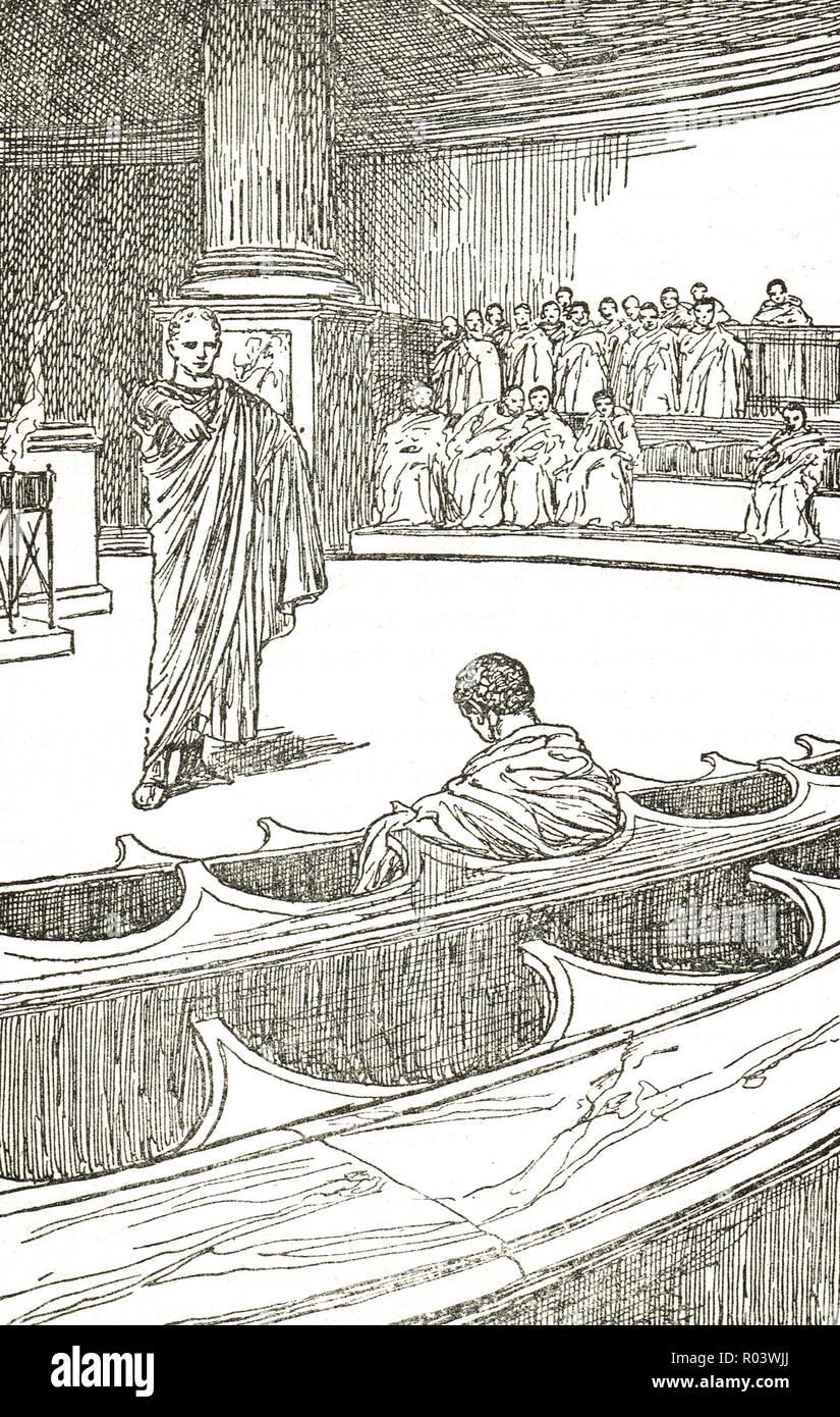 Marcus Tullius Cicero denouncing Lucius Sergius Catilina.  The Cataline conspiracy to overthrow the Roman Republic in 63 BC - Stock Image