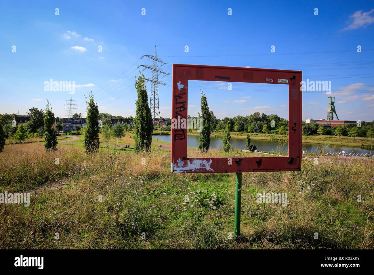 Essen, Ruhr area, Germany, Krupp-Park, lake, urban development project Krupp-Guertel - Stock Image