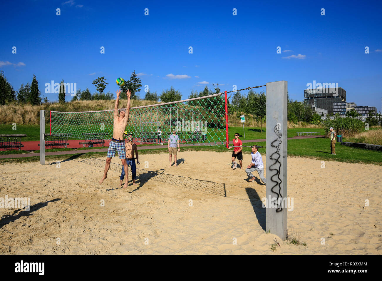 Essen, Ruhrgebiet, Germany, Krupp-Park, beach volleyball, urban development project Krupp-Guertel Stock Photo