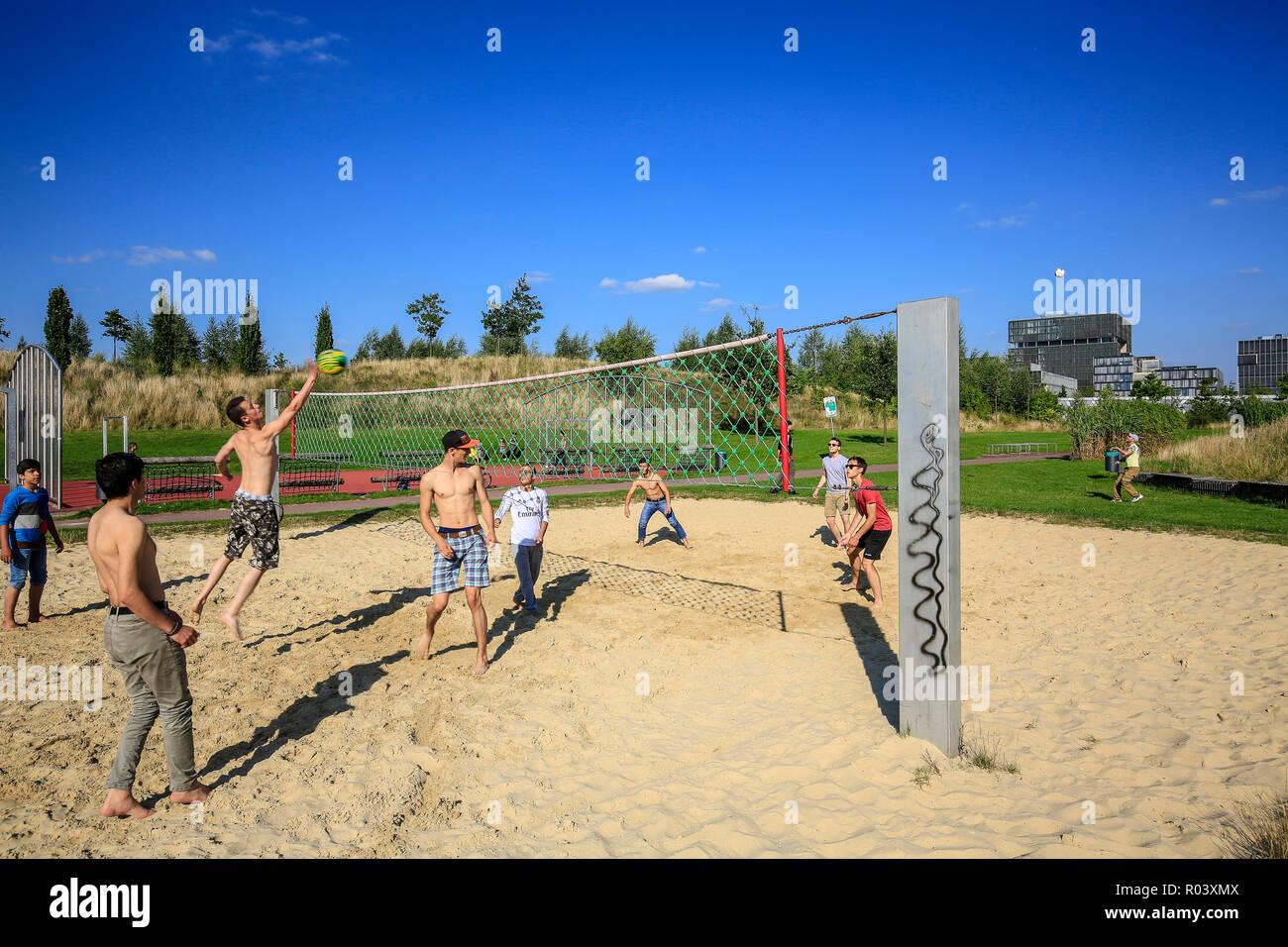 Essen, Ruhrgebiet, Germany, Krupp-Park, beach volleyball, urban development project Krupp-Guertel Stock Photo
