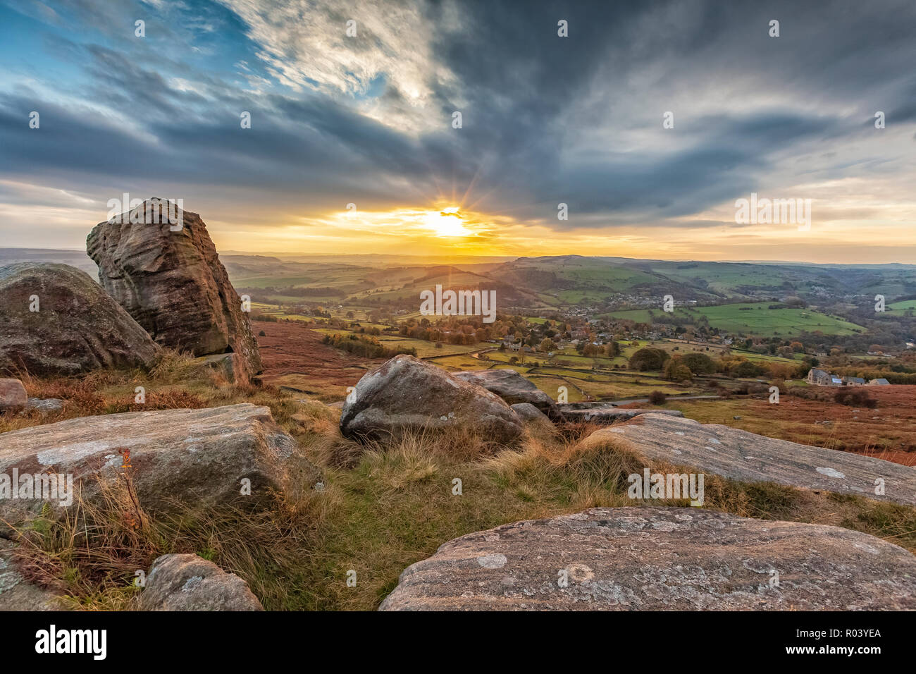beautiful landscape photograph of a sunset at Curbar Edge, Peak District National Park, Derbyshire, England October 2018 - Stock Image