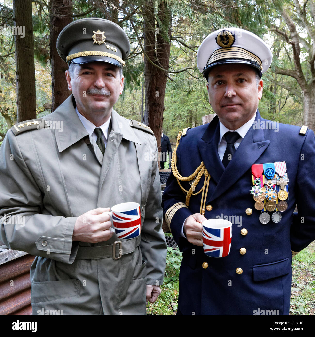 Col Jiri Niedoba (L) Defence Attache Czech Republic with Captain Luc Raynal French Naval Attache take coffee after the Czechoslovakia memorial service - Stock Image