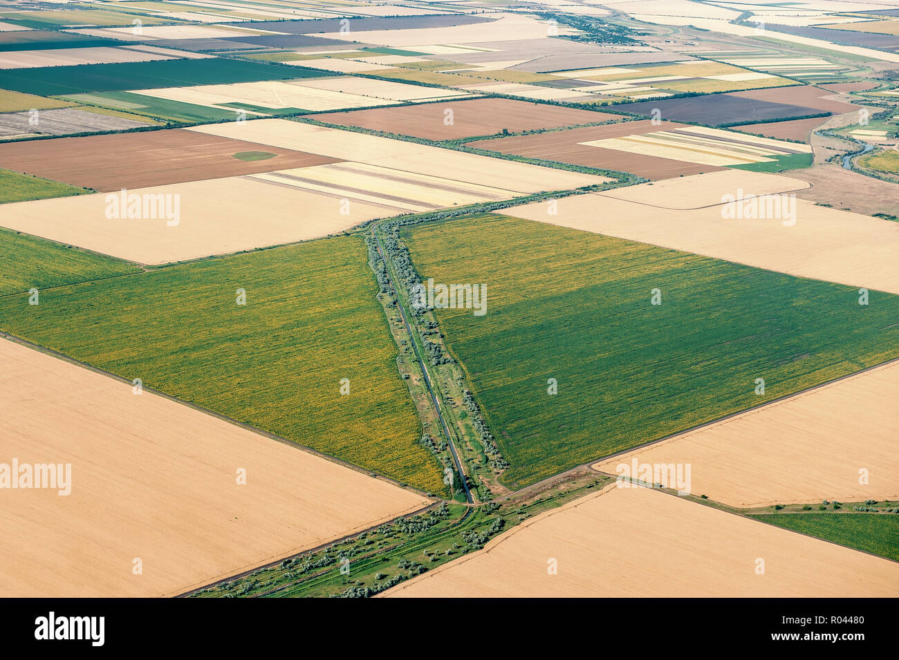 View from airplane window on circled field, Ukraine. Summer 2017. Stock Photo