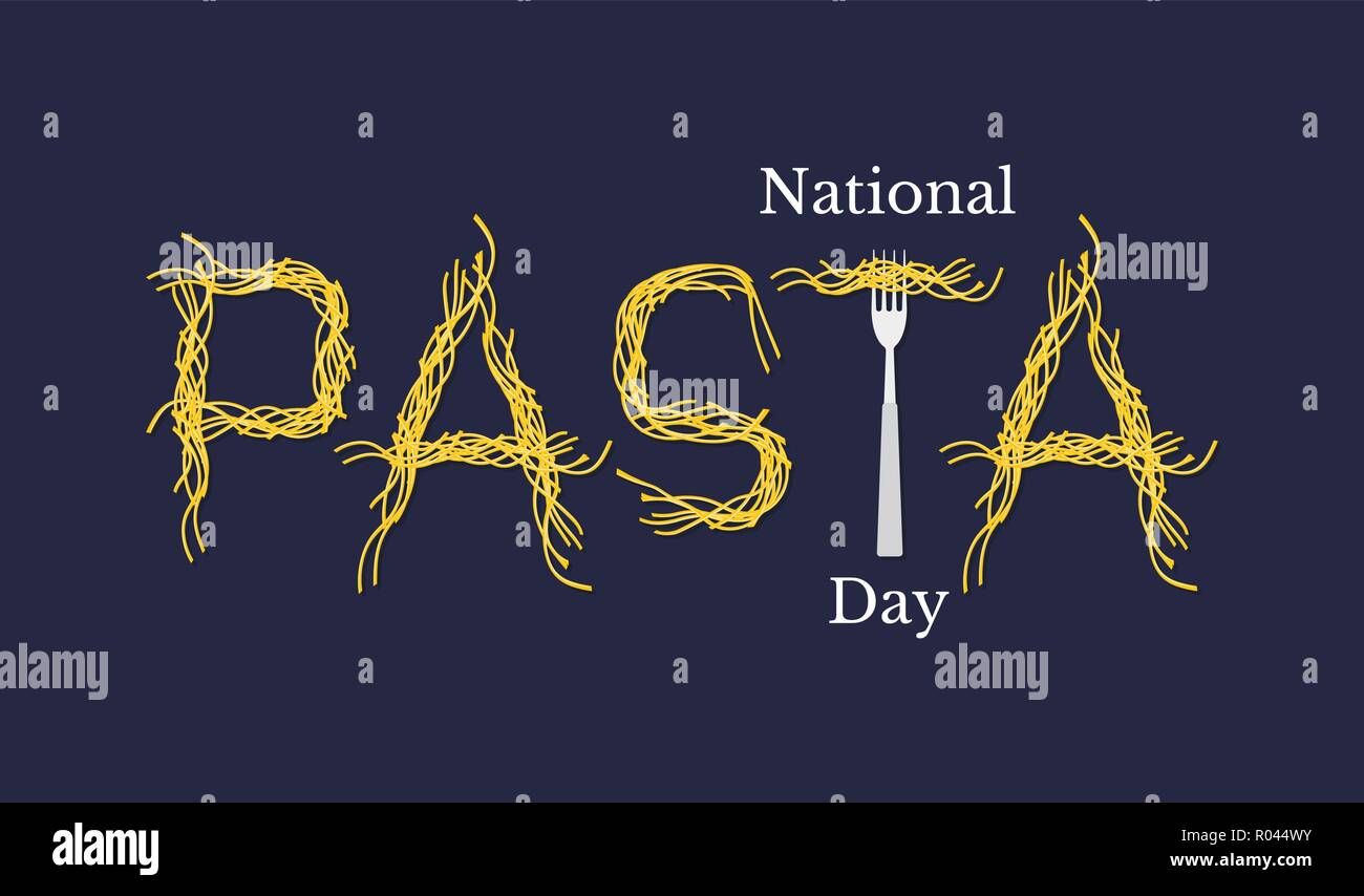 National Pasta Day. Event name. Spaghetti Word - Pasta and Fork. - Stock Vector
