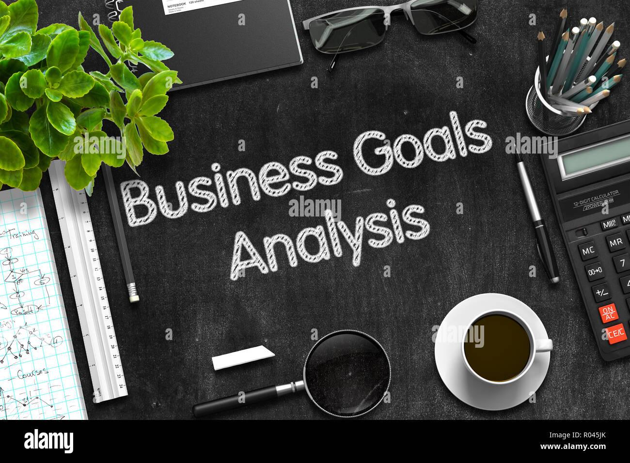 Business Goals Analysis on Black Chalkboard. 3D Rendering. - Stock Image