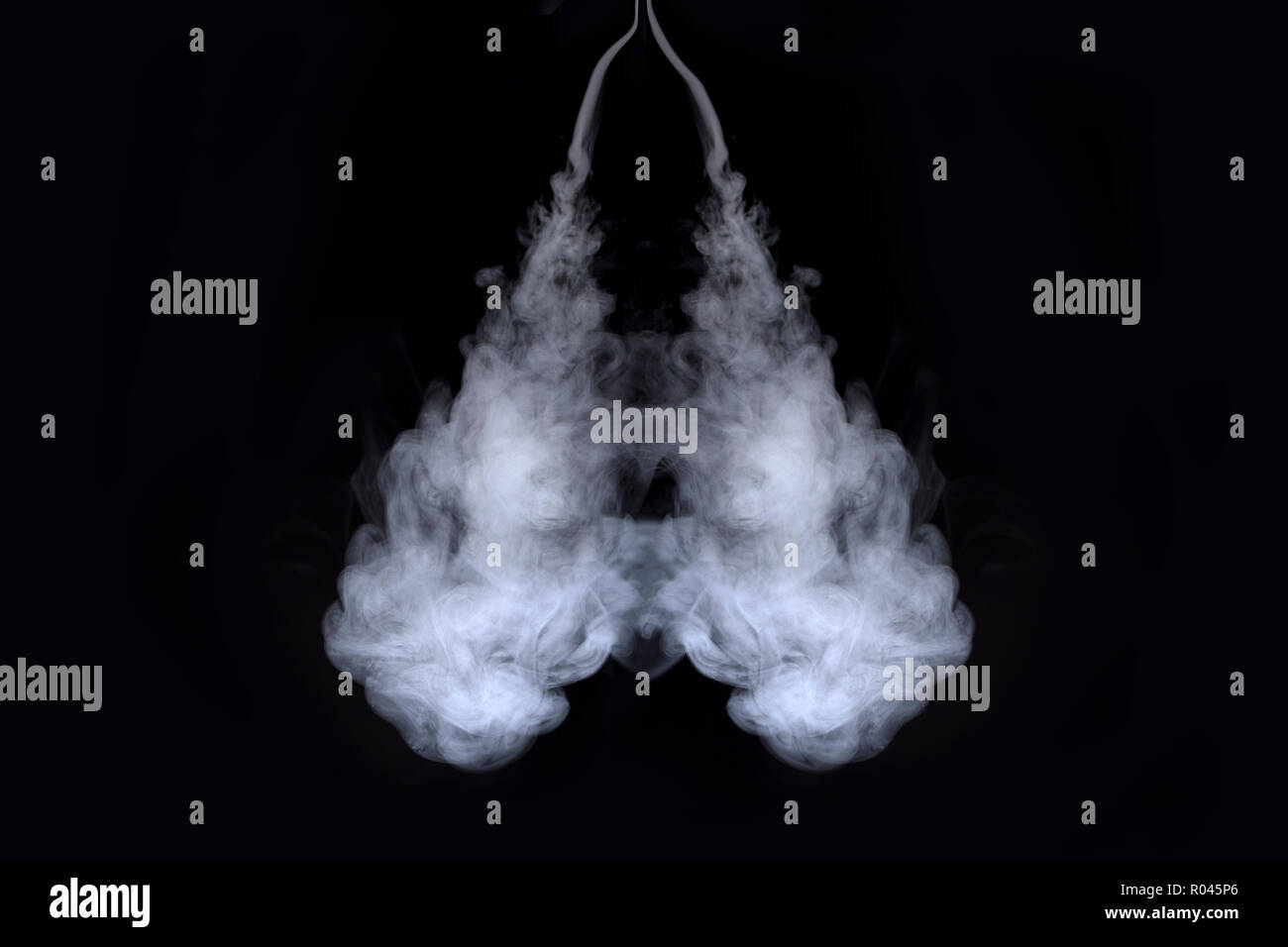 lungs of smoke on  black background - Stock Image
