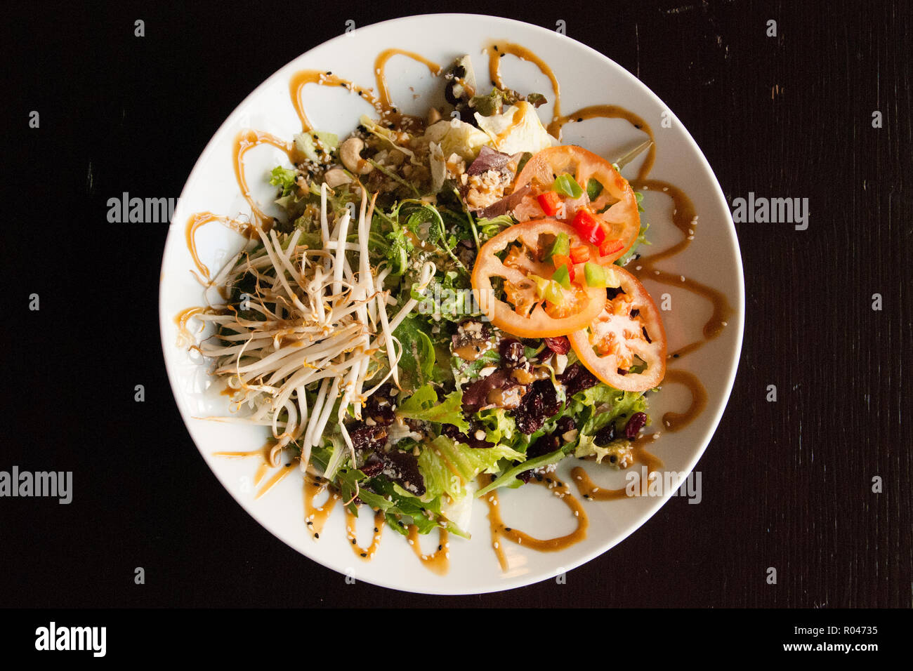 Fresh green salad with soy beans - Stock Image