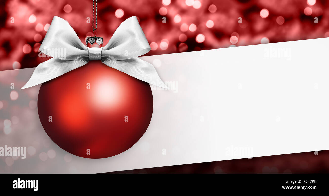 merry christmas signboard or gift card, red ball with silver ribbon ...