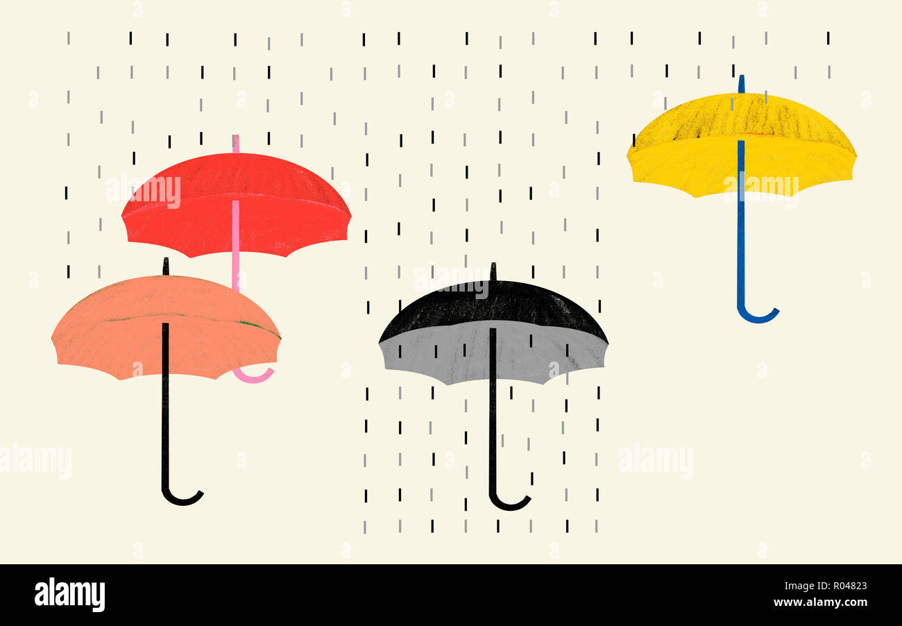 Pessimism attitude and negative vision of situations. Conceptual illustration shows rain and umbrella colored and black and white as a visual metaphor - Stock Image