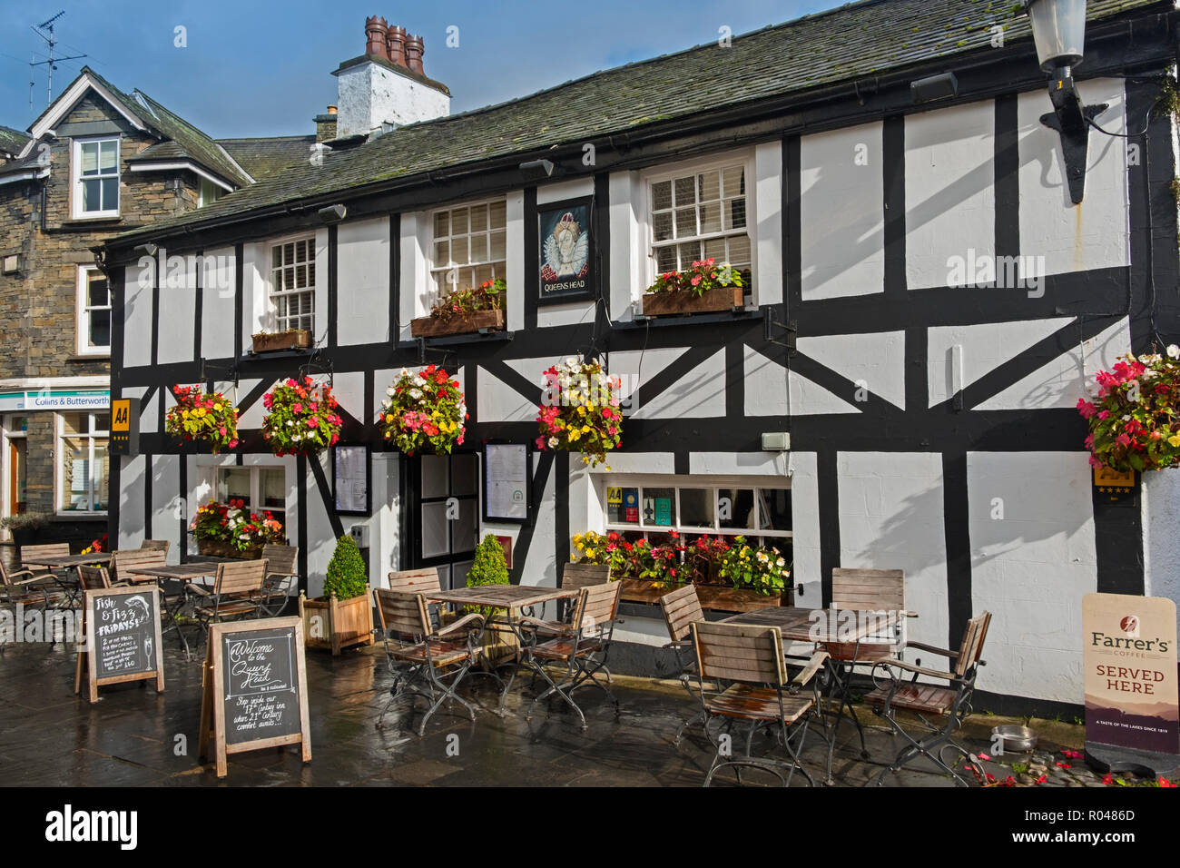 Queen's Head Hotel Hawkshead Village South Lakeland Cumbria UK - Stock Image