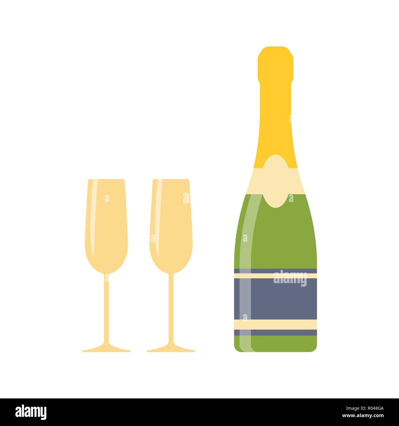 Champagne and two wine glasses isolated on white background. Alcoholic drink icon. Simple flat vector illustration, EPS 10. Stock Vector