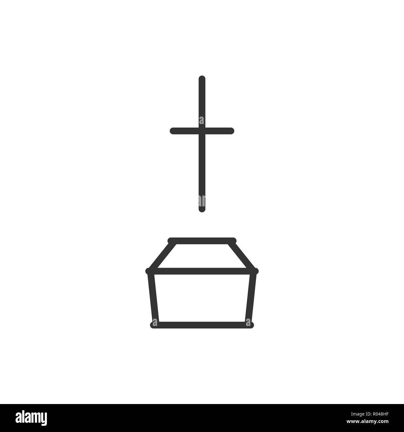 Coffin and cross sign, logo for mobile app and web design. Ceremony of burial. Simple linear style vector icon. Editable stroke. Illustration,eps 10. - Stock Vector