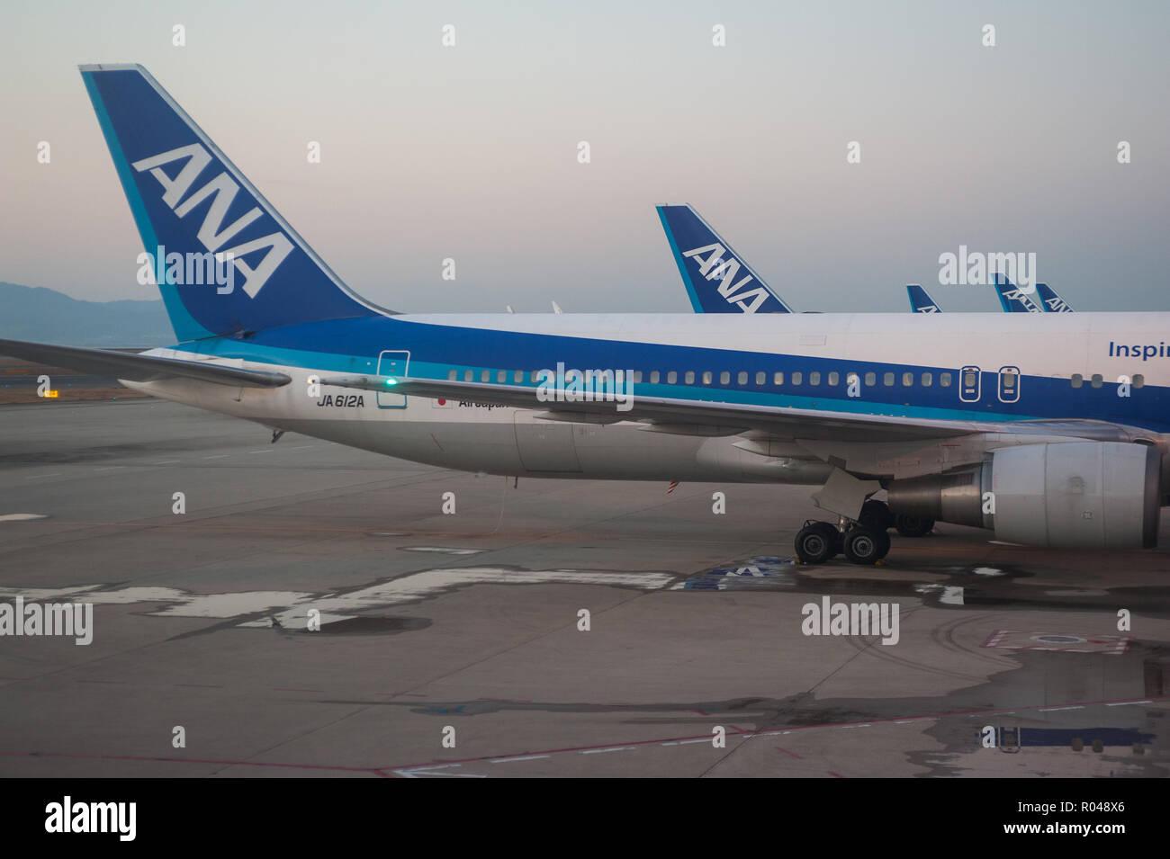 Osaka, Japan, ANA passenger aircraft at Kansai airport - Stock Image