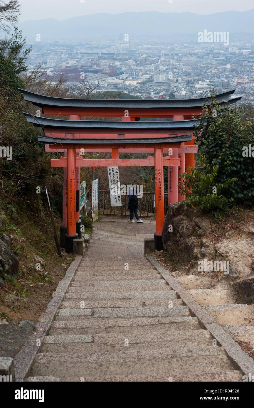 Kyoto, Japan, wooden portals along the Torii path to Fushimi Inari-Taisha - Stock Image