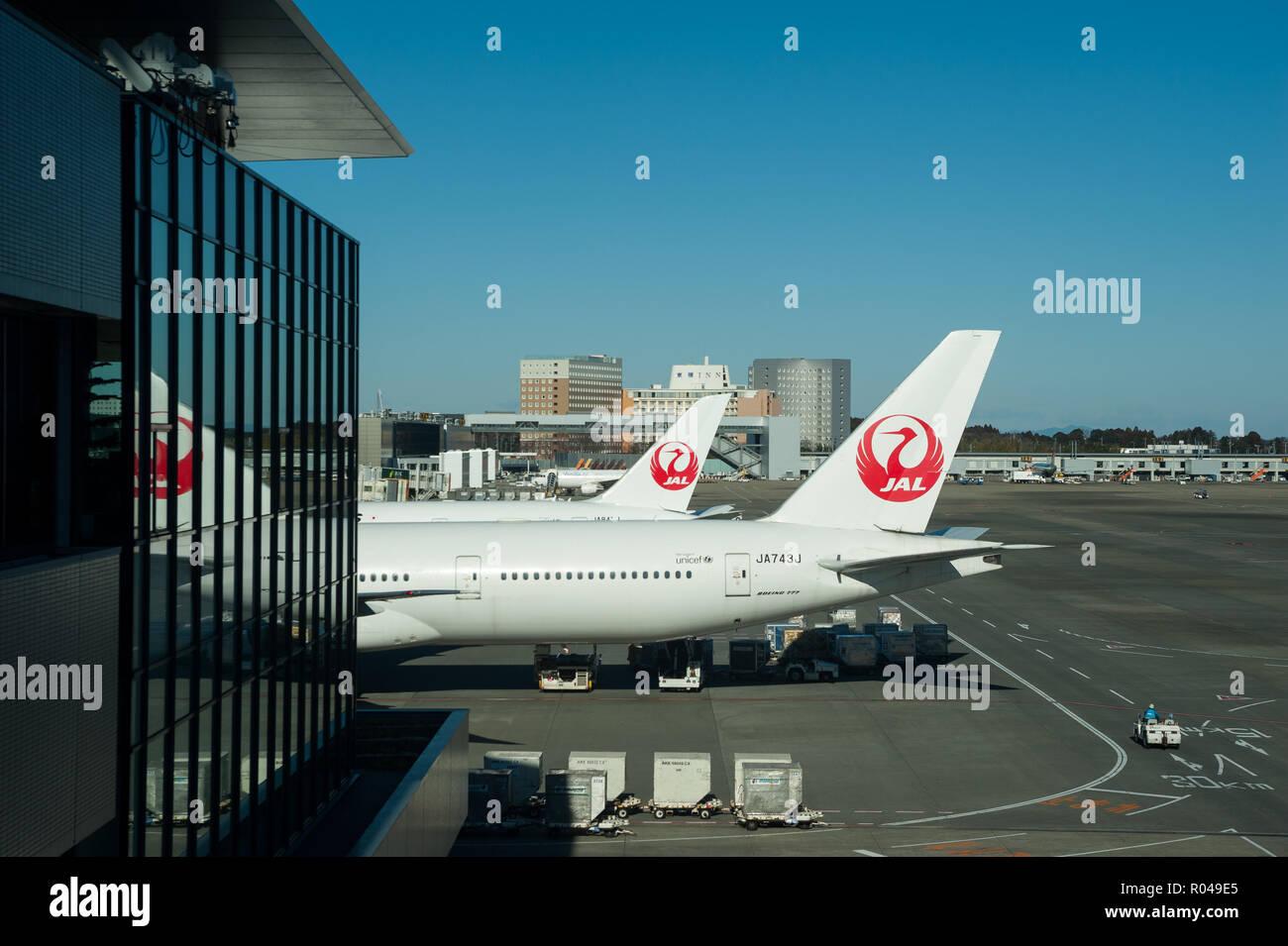Tokyo, Japan, Japan Airlines passenger aircraft at Narita Airport - Stock Image