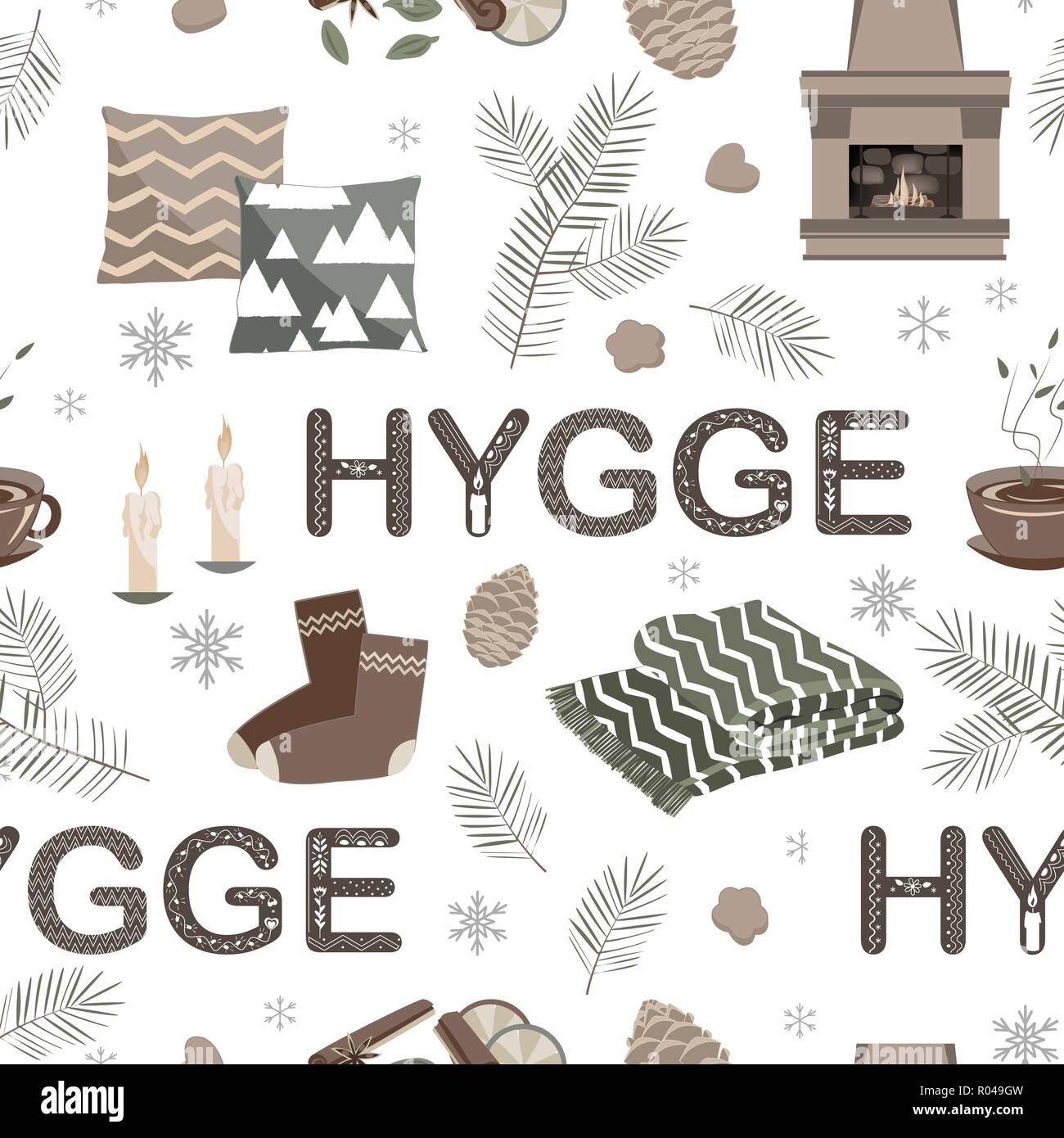 Vector seamless pattern with hygge lettering and cozy things. - Stock Image
