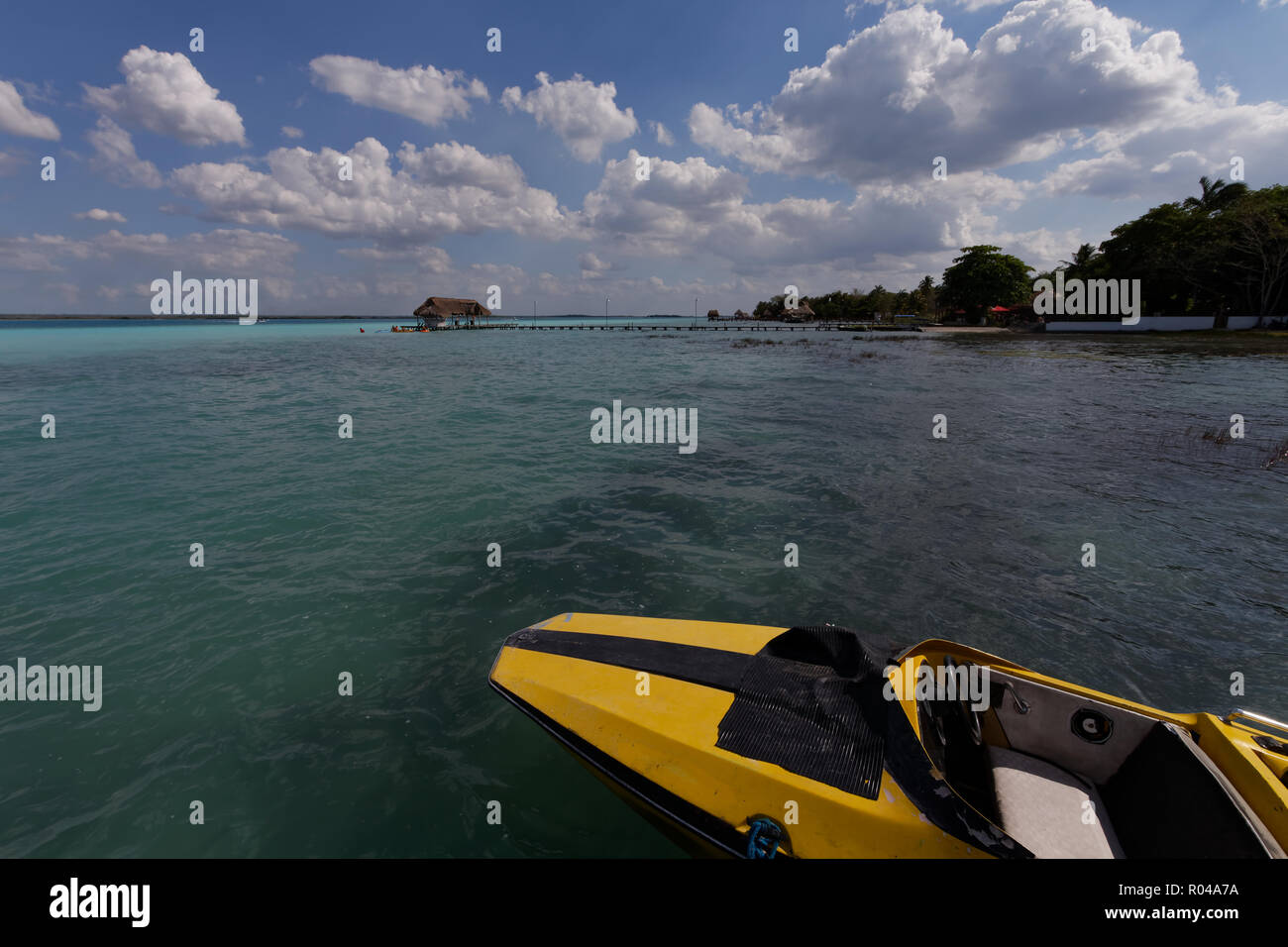 Laguna Bacalar - activities - Stock Image