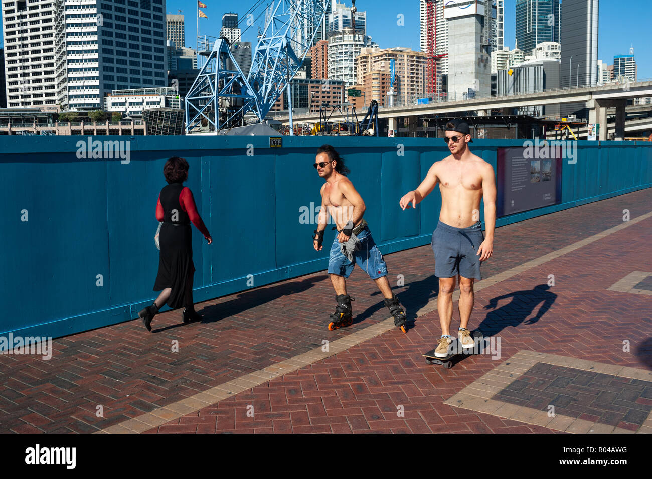 Sydney, Australia, skating at Darling Harbour - Stock Image