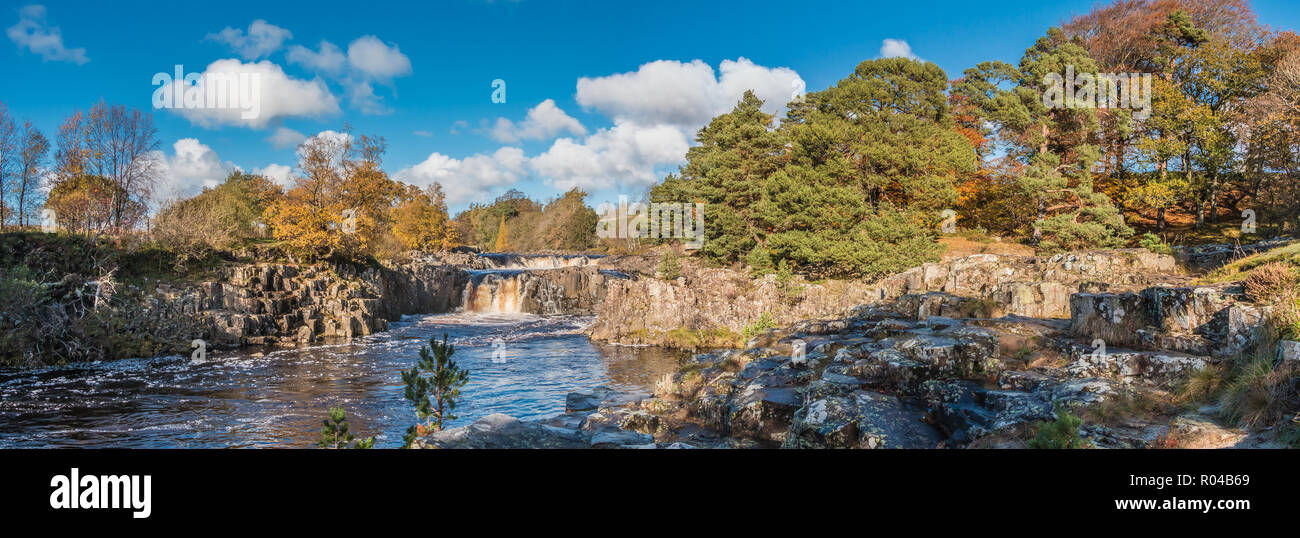 North Pennines AONB Landscape, panoramic view of Low Force Waterfall, Teesdale with autumn colours and bright sunshine - Stock Image