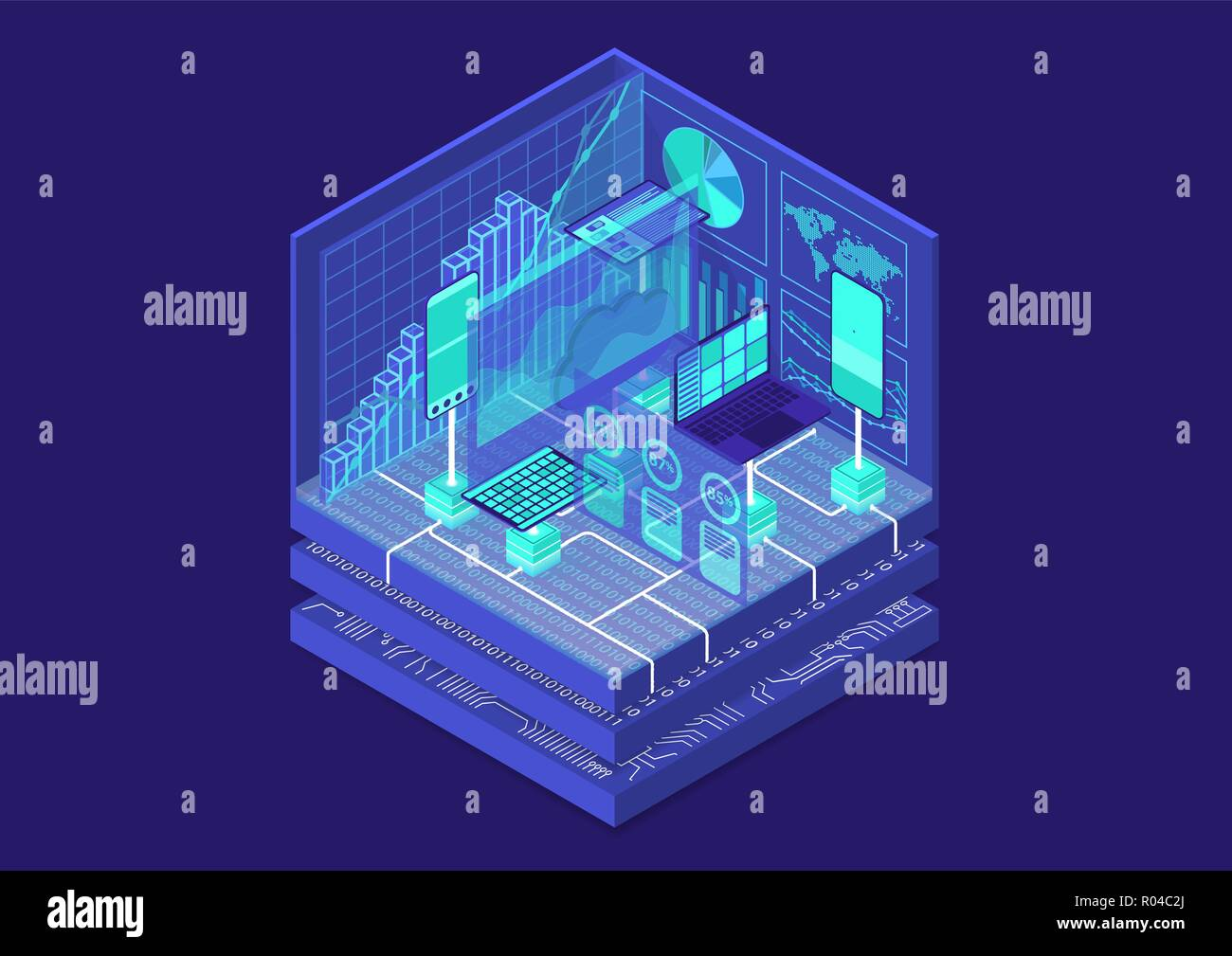 Advanced Analytics isometric vector illustration. Abstract 3D infographic with mobile devices and data dashboards - Stock Vector