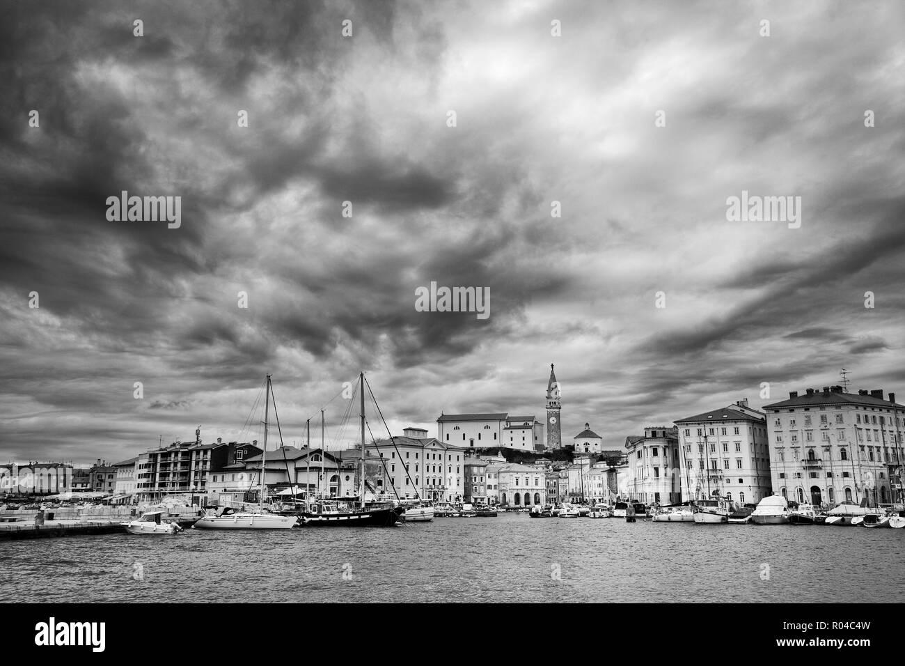 Piran harbour, Piran, Primorska, Adriatic Coast, Slovenia - Stock Image