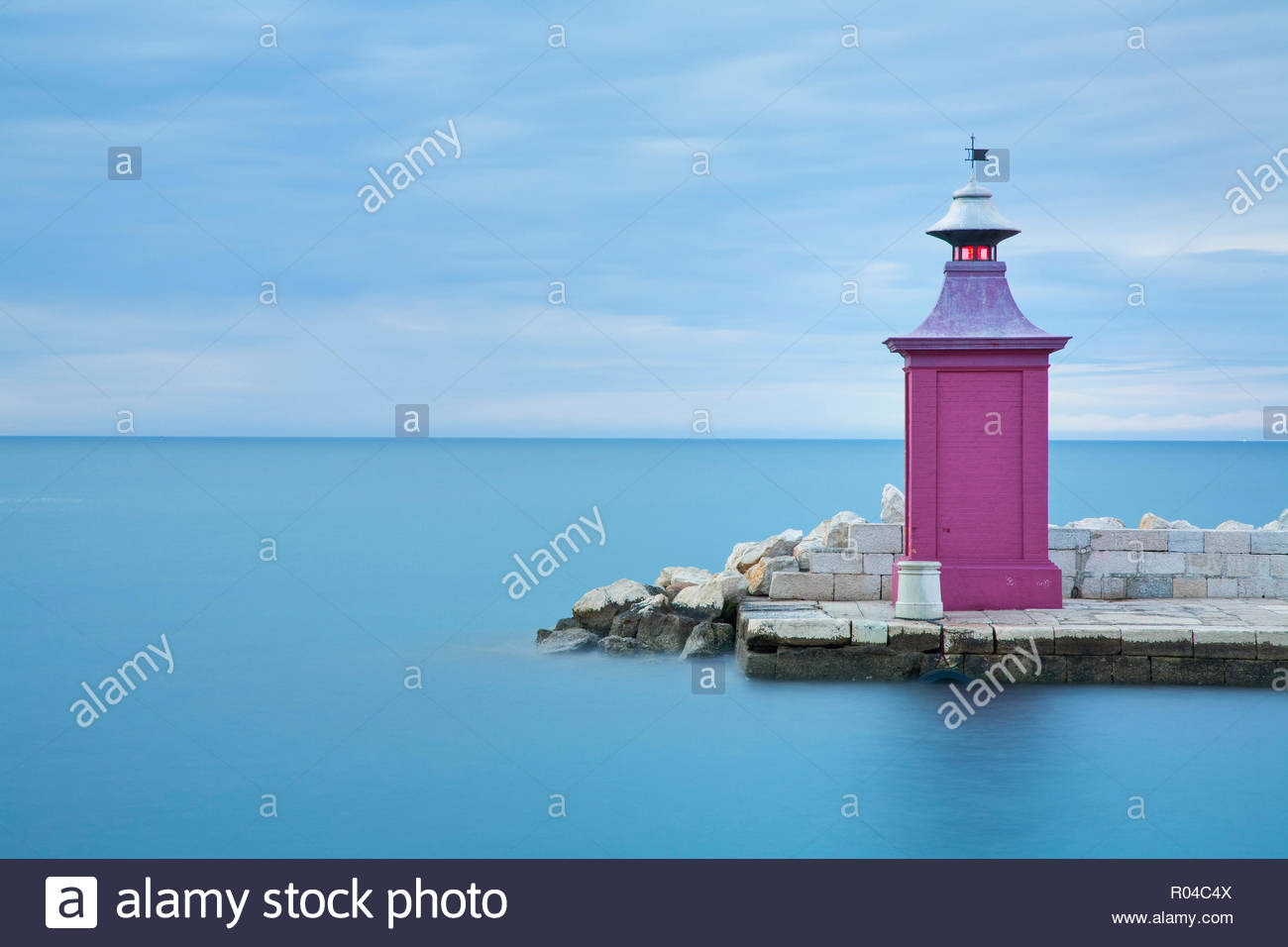 Beacon at entrance to Piran Harbour, Adriatic Coast, Slovenia - Stock Image