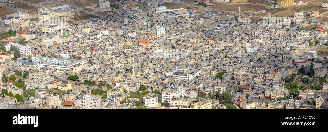 Aerial view of the Balata Palestinian Refugee Camp adjacent to Nablus - Stock Image