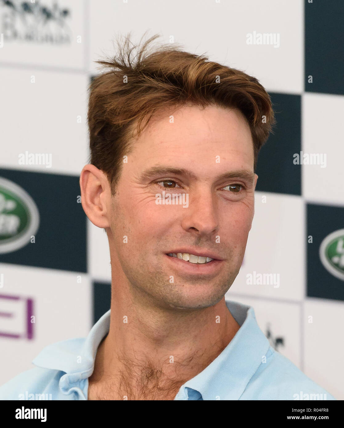 Harry Meade during the dressage phase of the Land Rover Burghley Horse Trials, 2018 Stock Photo