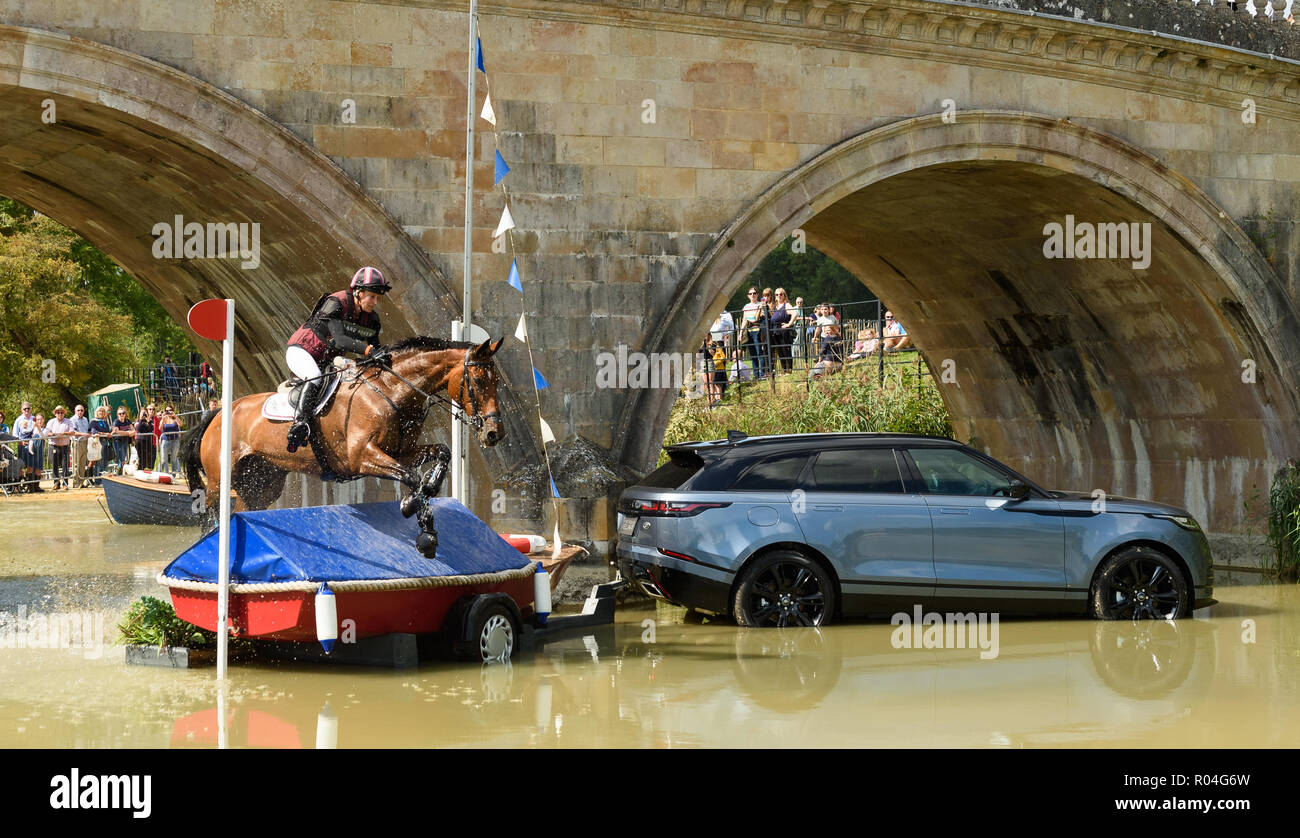 Sarah Bullimore and REVE DU ROUET during the cross country phase of the Land Rover Burghley Horse Trials 2018 Stock Photo