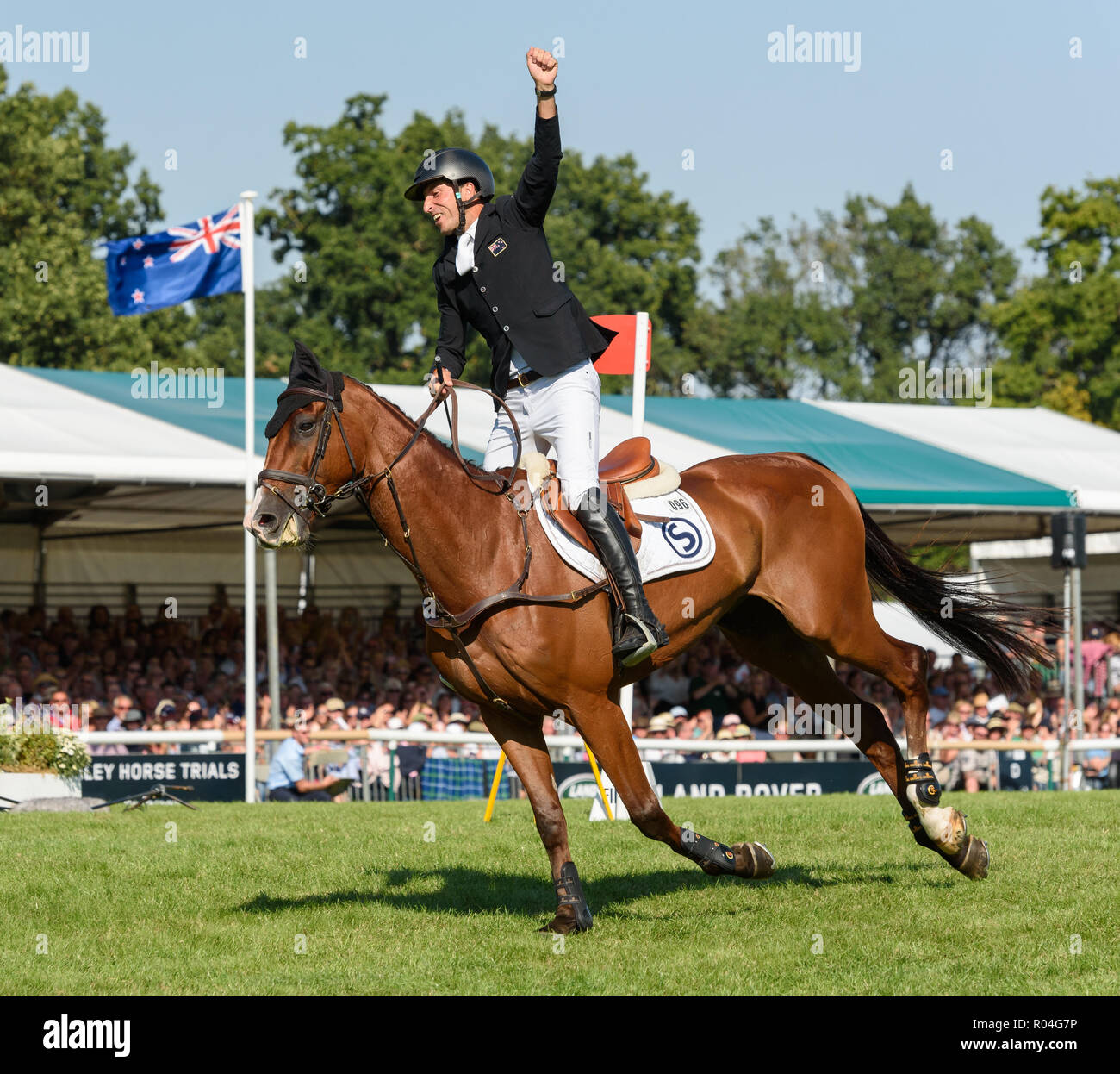 Tim Price and RINGWOOD SKY BOY during the showjumping  phase of the Land Rover Burghley Horse Trials, 2nd September 2018. Stock Photo