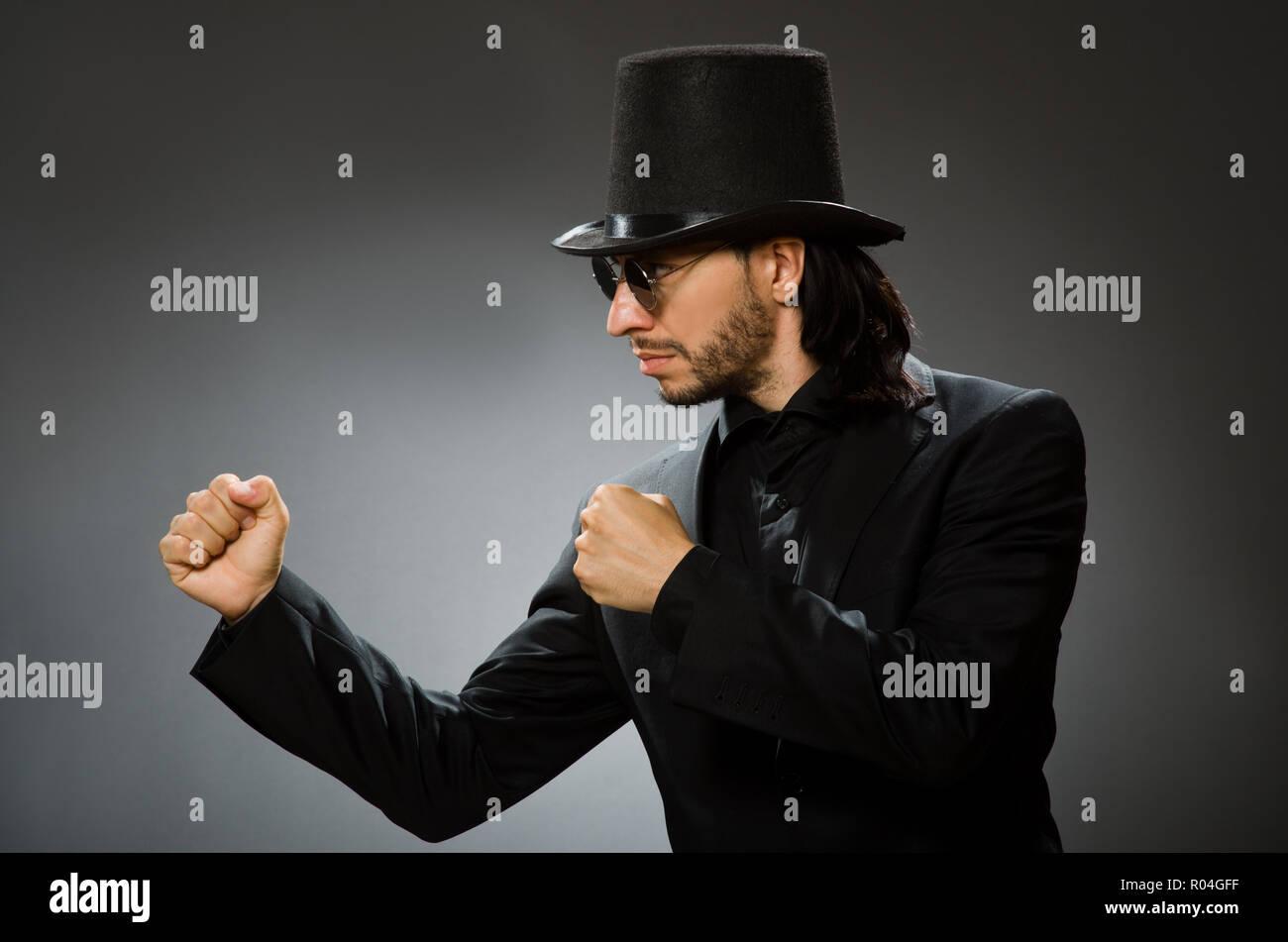 192754608e3 Man Wearing Derby Hat Boxing Stock Photos   Man Wearing Derby Hat ...