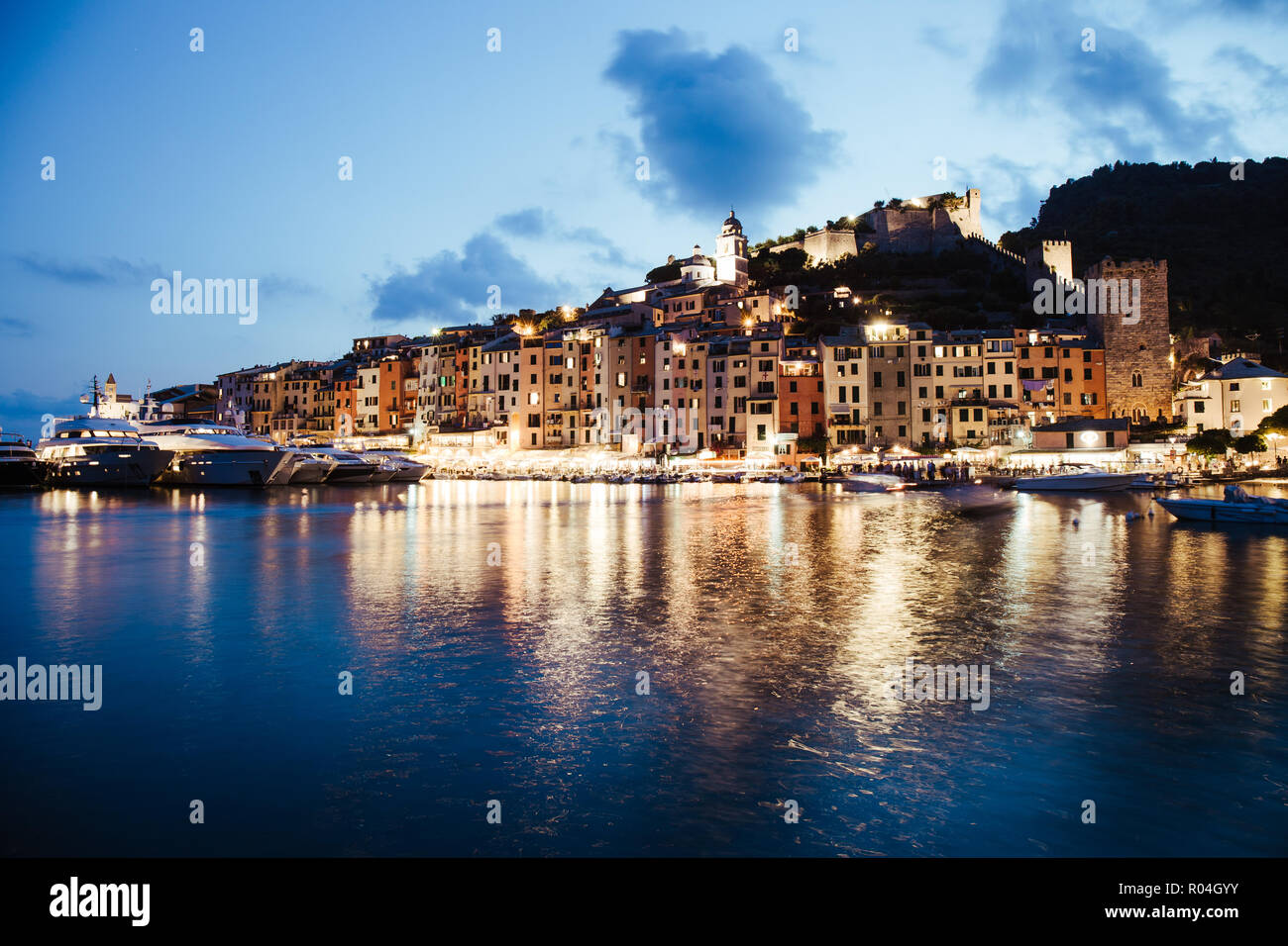 Evocative Portovenere foreshortening after the sunset - Portovenere, Liguria This photo was taken in July during the blue hour. Stock Photo