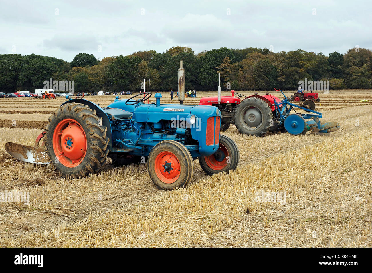 Classic tractors at a ploughing match during the 2018 Skeyton Trosh event in Norfolk. Stock Photo