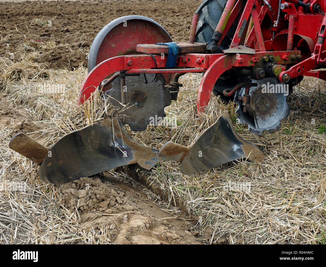 Massey-Ferguson two furrow plough from the 1960's. Stock Photo