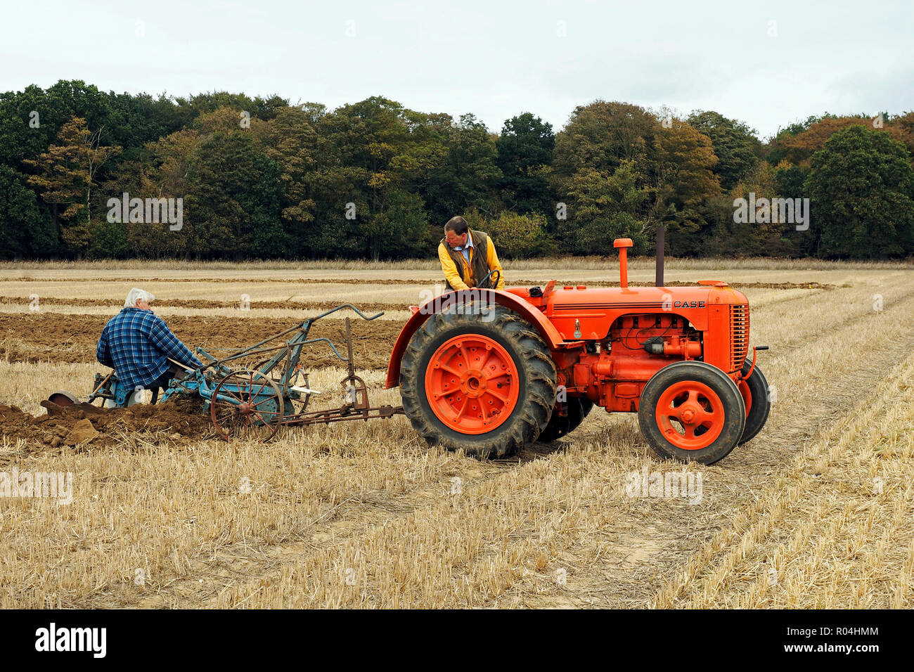 Case Model L tractor paired with a Ransome's plough at a ploughing match in Norfolk, England. Stock Photo