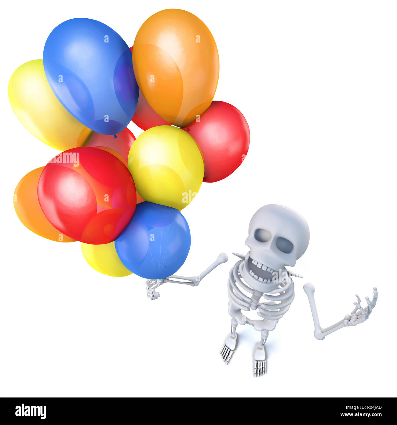 3d Render Of A Funny Cartoon Skeleton Holding Lots Of Colourful