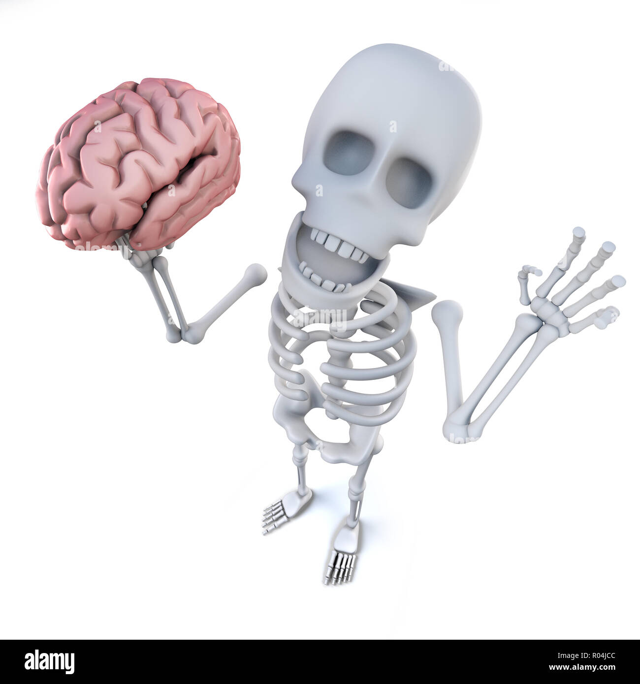 3d render of a funny cartoon skeleton character holding a human brain Stock Photo
