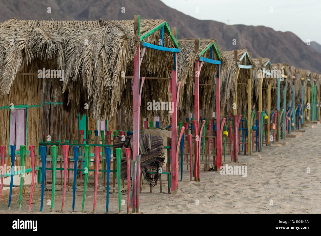Bedouin Huts in Sondos Camp. Nuweiba. Egypt - Stock Image