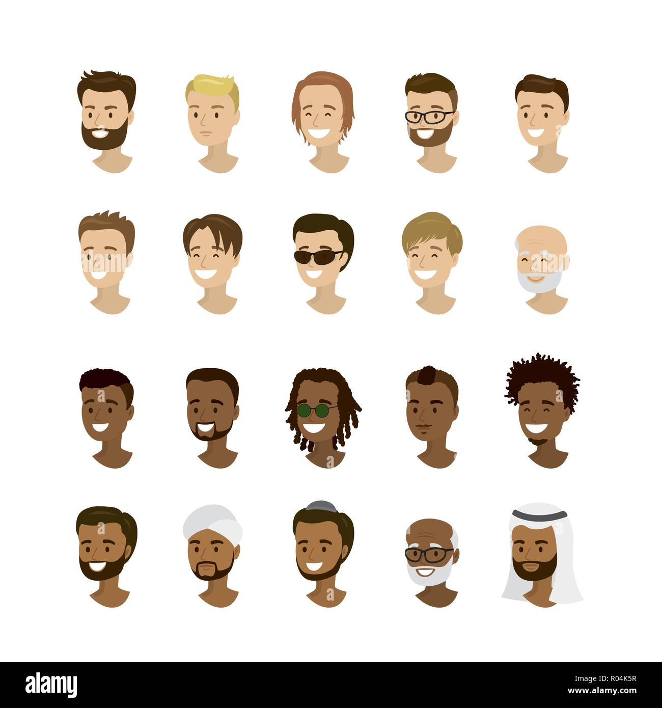 Set male faces,different nation and races, cartoon man avatars,isolated on white background,vector illustration - Stock Image