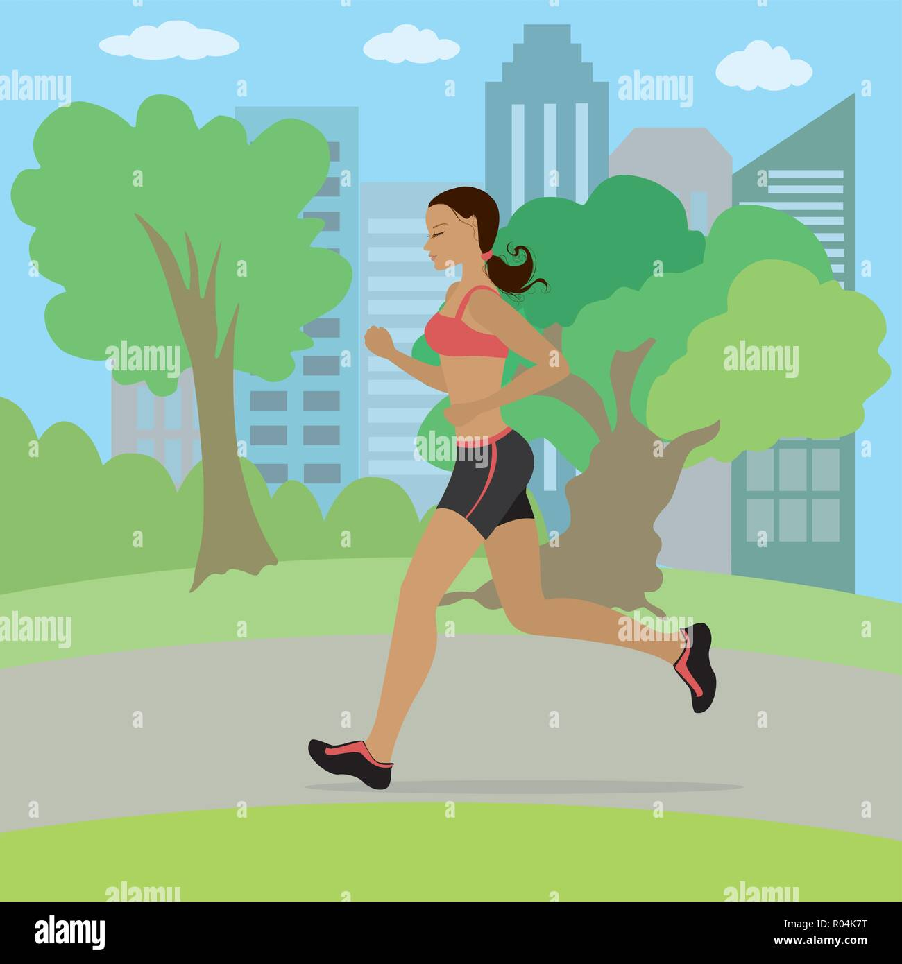 Young and slim woman running in the park, fitness cartoon vector illustration - Stock Vector